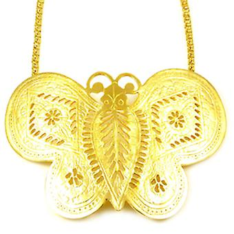 Kenneth Jay Lane Large Satin Gold Butterfly Necklace
