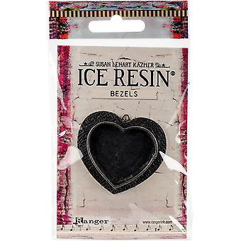 Ice Resin Milan Bezels Closed Back Heart Large-Antique Silver IRB50766