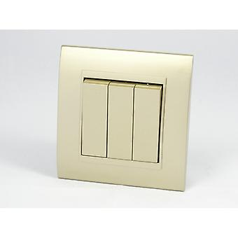 I LumoS AS Luxury Gold Plastic Arc Single Frame 3 Gang 1 Way Rocker Light Switches