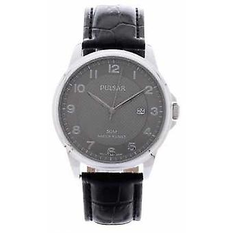 Pulsar Mens Black Leather Strap Silver Dial PS9447X1 Watch