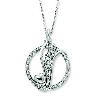 Sterling Silver Polished Gift Boxed Spring Ring Rhodium-plated Cubic Zirconia Journey Of Promise 18inch Necklace
