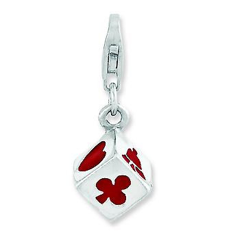 Sterling Silver Rhodium-plated 3-d Enameled Die With Lobster Clasp Charm - 3.2 Grams