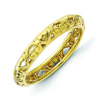 3.5mm Sterling Silver Stackable Expressions Gold-plated Carved Ring - Ring Size: 5 to 10