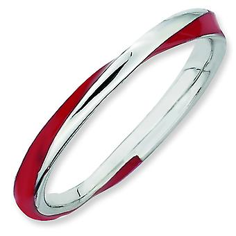 Sterling Silver Twisted Red Enameled 2.5 x 2.25mm Stackable Ring - Ring Size: 5 to 10