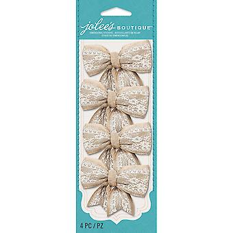 Jolee's Boutique Burlap Bows 4/Pkg-Natural W/Lace BRLPBW-60503