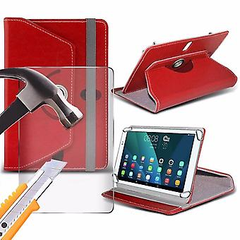 iTronixs - Omate T800A ( 8 Inch ) Tablet Case PREMIUM PU 360 Rotating Leather Wallet Folio Faux 4 Springs Stand with Tempered Glass LCD Screen Protector Guard - Red