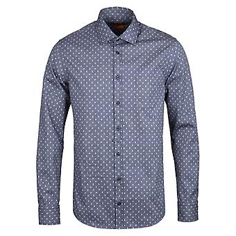 BOSS Orange EslimE Blue Chambray Paisley Long Sleeve Shirt