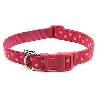 Indulgence Nylon Adjustable Collar Vintage Polka Raspberry & Pink 20-30cm Sz 1-2