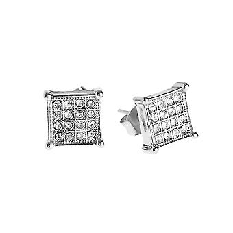 Iced Out Bling Ohrstecker Box - SQUARE 8mm silber