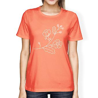 Flor Womens pêssego manga curta gráfica verão viagem bonita camiseta