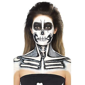 Liquid latex skeleton skull facepaint set 2 colors with trowel makeup makeup LaTeX