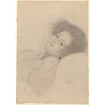 Gustav Klimt - Portrait of a Young Woman Reclining Poster Print Giclee