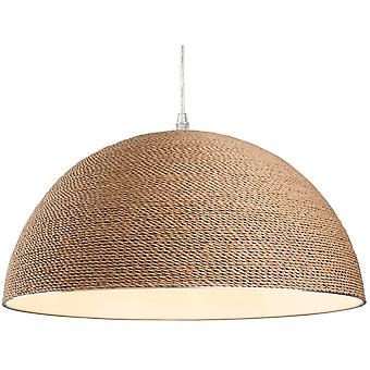 Firstlight Traditional Brown Rope Fabric Dome Ceiling Light Pendant