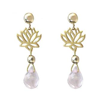 Ladies - earrings - 925 Silver - gold plated - Lotus Flower - Rose Quartz - dripping - Rosa - YOGA - 3.5 cm