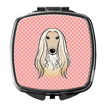 Carolines Treasures  BB1244SCM Checkerboard Pink Afghan Hound Compact Mirror