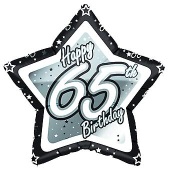 Creative Party Happy 65th Birthday Black/Silver Star Balloon