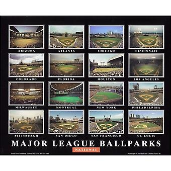 Major League Ballparks - National League Poster trykk av Ira Rosen (28 x 22)