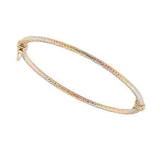 9ct 375 Gold Kids Girls Fine Diamond Cut Bangle Bracelet in Beautiful Matt Finish