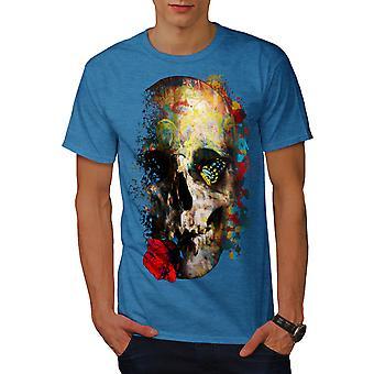 Skull Rose Art Men Royal BlueT-shirt | Wellcoda