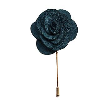 Teal Handmade Flower/Rose Lapel Pin for wearing with men's suit jacket, blazer, dinner jacket or tuxedo jacket