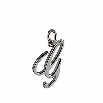 Zilveren 22x13mm vlakte Palace script eerste G-hanger