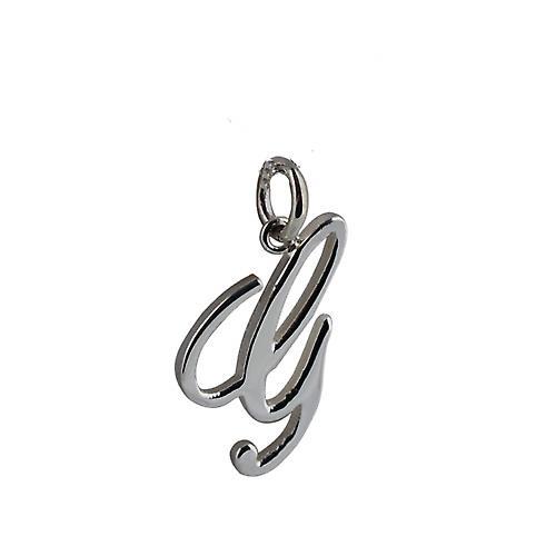 Silver 22x13mm plain Palace script Initial G Pendant
