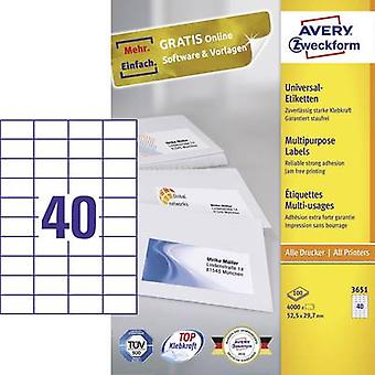 Avery-Zweckform 3651 Labels (A4) 52.5 x 29.7 mm Paper