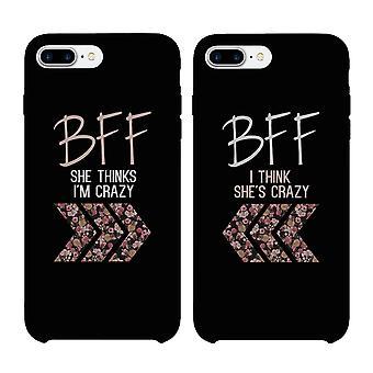 BFF blommig galen svart matchande bästa vän telefon fall
