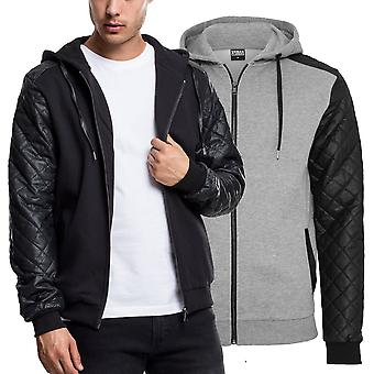 Urban classics - faux leather quilted Sleeve Zip Hoody