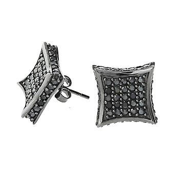 Sterling 925 Silver earrings - ALL ICE 11 mm black