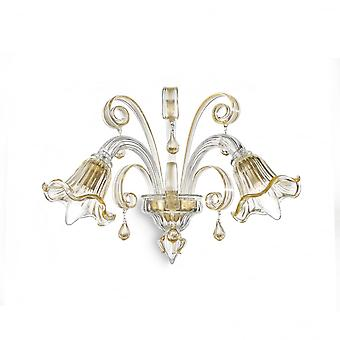 Ideal Lux Ca White And Gold Traditional Floral Wall Sconce Light