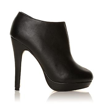 H20 Black PU Leather Stilleto Very High Heel Ankle Shoe Boots