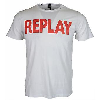 Replay Round Neck Block Logo White T-shirt