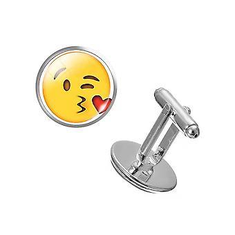 Love Kiss PAIR Emoji Cufflinks Yellow Button Background Happy Party
