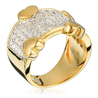 Orphelia Silver 925 Ring Gold Heart  Zirconium   ZR-3605-GOLD