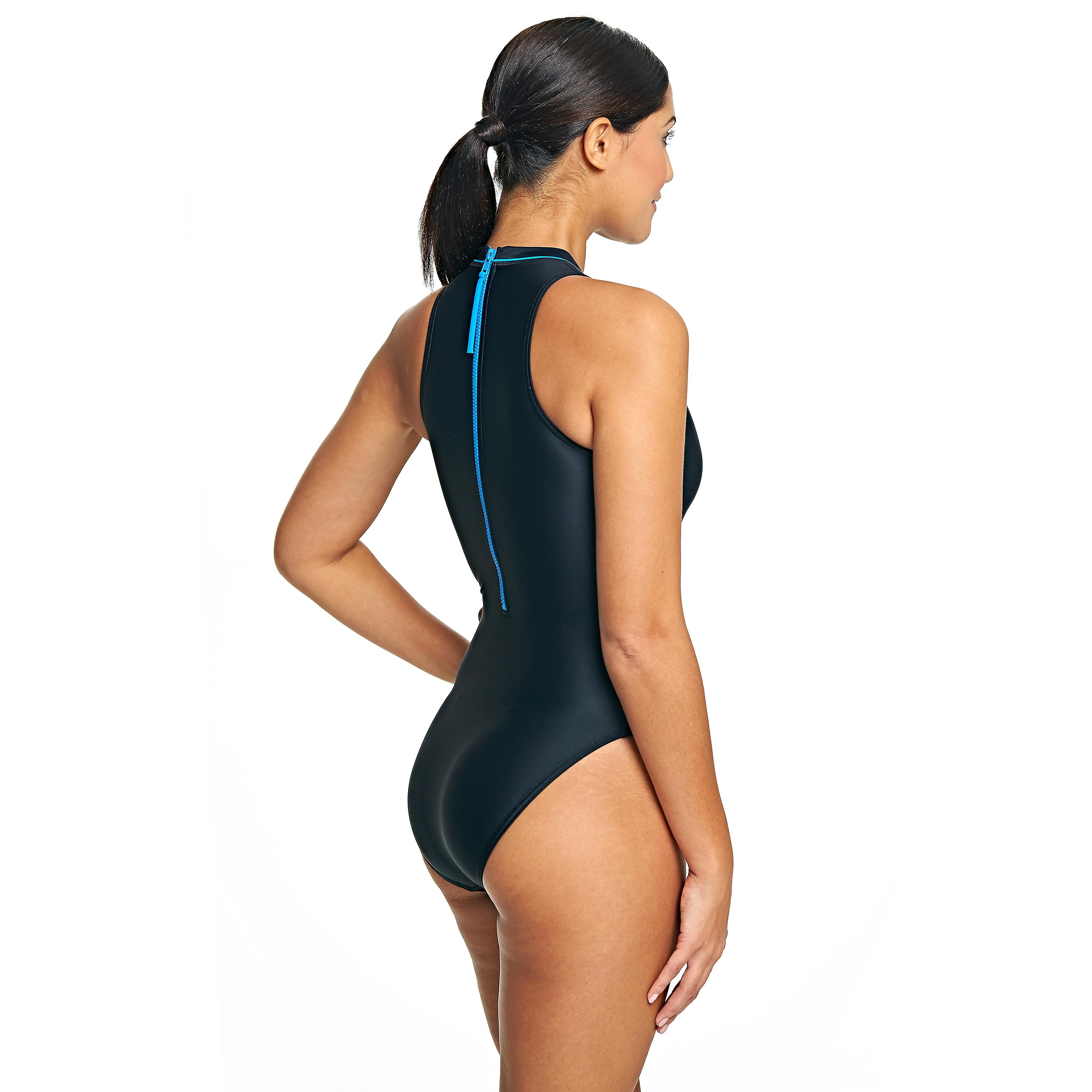 523603cfa7 Zoggs Women's Cable Highneck Swimming Costume in Black / Blue - Chlorine  Resistant | Fruugo