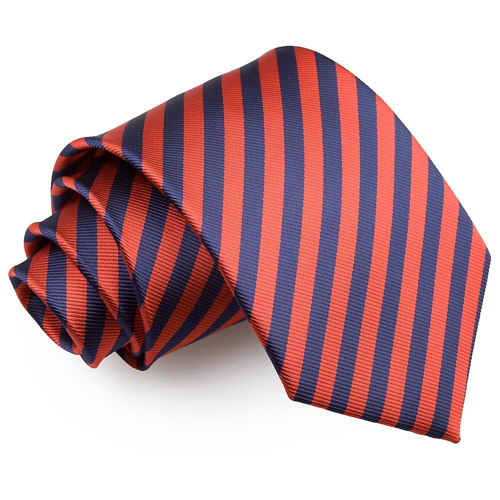 Navy Blue & Red Thin Stripe Classic Tie