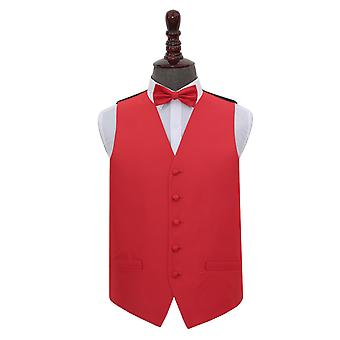 Red Solid Check Wedding Waistcoat & Bow Tie Set