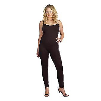 Womens Plus Size Full Figure Black Basic Unitard Bodystocking Bodysuit