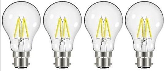 4 X Energizer 7.2W = 60W LED Filament GLS Light Bulb Lamp Vintage BC B22 Bayonet Cap [Energy Class A+]