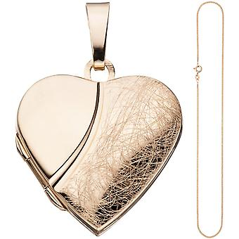 Locket heart pendant to open 925 Silver rose gold gold plated chain 45 cm