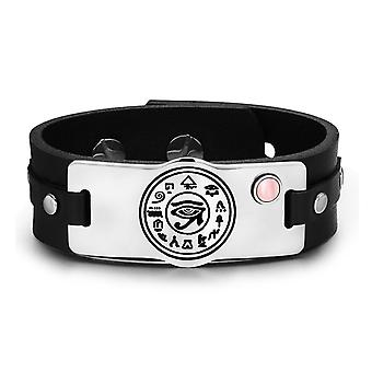 All Seeing and Feeling Eye of Horus Amulet Pink Simulated Cats Eye Adjustable Leather Bracelet