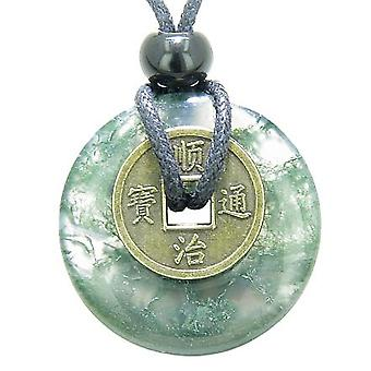 Antique Lucky Coin Good Luck Powers Amulet Green Moss Agate Gemstone 30mm Donut Pendant Necklace