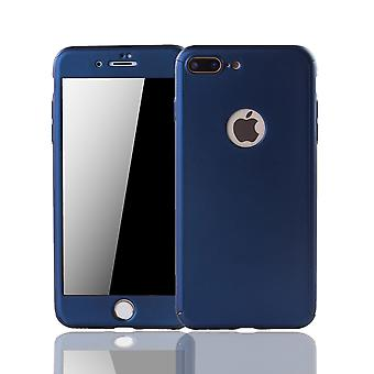 Apple の iPhone 7 プラス携帯電話ケース保護ケース カバー タンク保護ガラス ブルー