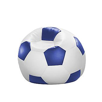 Bean bag cushion football white blue leatherette 90 x 90 x 90 cm