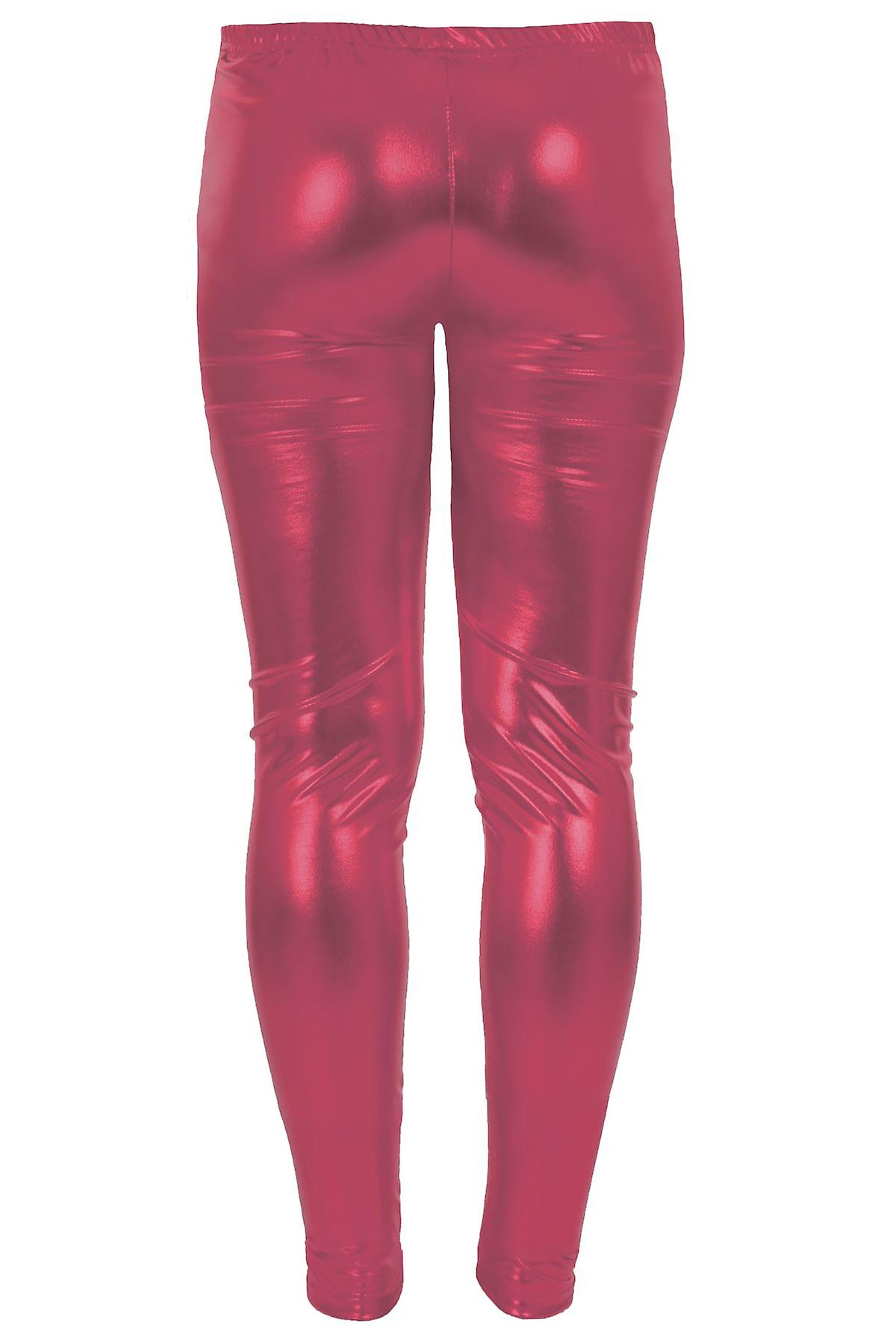 Girls Kid's Metallic Shiny Children's Wet Look Footless Party Disco Pants Leggings