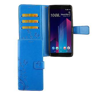 HTC U12 + plus telefone celular caso tampa protetora bolsa Flip titular caso azul
