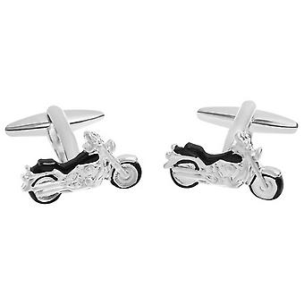 Zennor Motorbike Cufflinks - Silver/Black