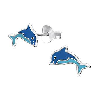 Dolphin - 925 Sterling Silver Colourful Ear Studs - W31338x