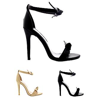 Womens Barely There Open Toe High Heel Bow Cut Out Ankle Strap Stilettos UK 3-10